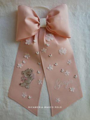 Orsetto e farfalle, lino rosa cipria scuro