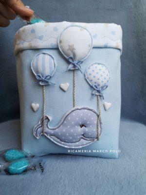 Portaconfetti balena e 3 palloncini