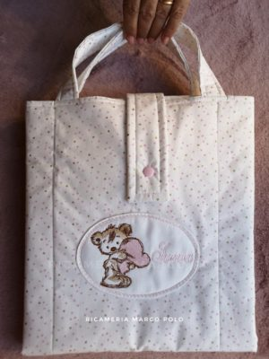 Fasciatoio con manici orso e cuore rosa