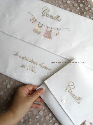 Busta panni stesi lino bianco con busta piccoli accessori