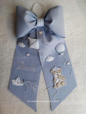 Aquilone, barchetta e orsetto lino azzurro