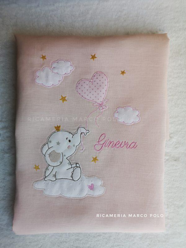 Copertina sacco piumone lino rosa cipria, elefantino su nuvola