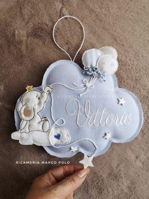 Nuvola con elefantino su nuvola e palloncini, base azzurra
