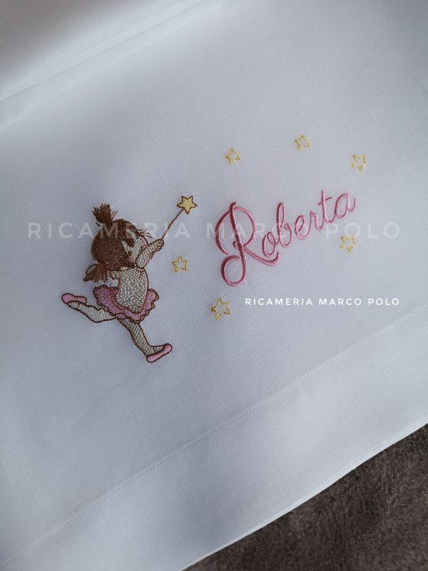 Lenzuolino ballerina con bacchetta, toni rosa baby
