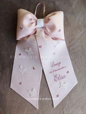 Fiocco semplice rosa cipria, con farfalle