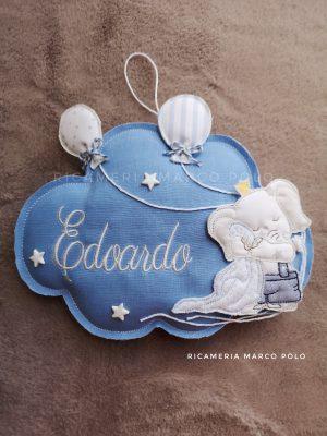 Nuvola con elefantino e copertina, palloncini e stelle, lino azzurro lago