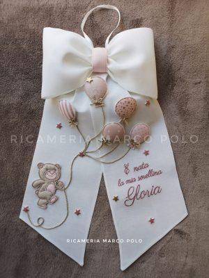 Orsetto e 5 palloncini lino bianco, dettagli rosa antico e tortora